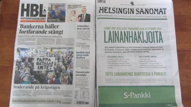 Hufvudstadsbladet ja Helsingin Sanomat 21.3. Huomaatko eroa?