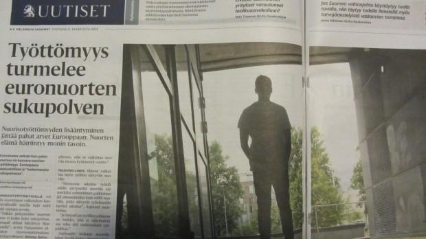 HS muistuttaa 11.6. nuorisotyöttömyyden kohtalokkaista seurauksista. Onko tämä osittain vastaus Jukka Rantalalle ja Sture Fjäderille?